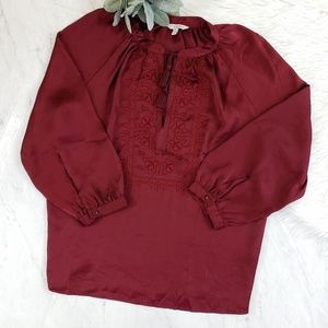 Lucky Brand Burgundy Embroidered Satin Floral Top